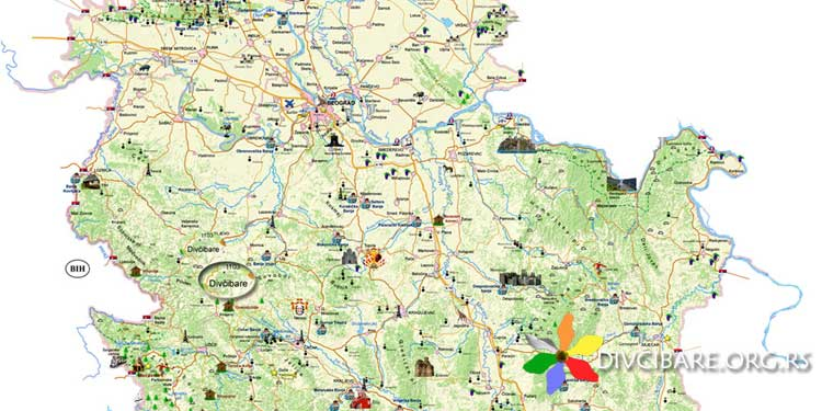 karta srbije sa planinama Divčibare mapa   turistička karta Divčibara, mapa Divčibara karta srbije sa planinama